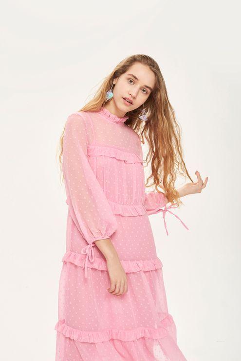 Dobby Chiffon Midi Dress