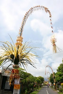 Penjor are placed in front of each Balinese household for the Galungan holiday