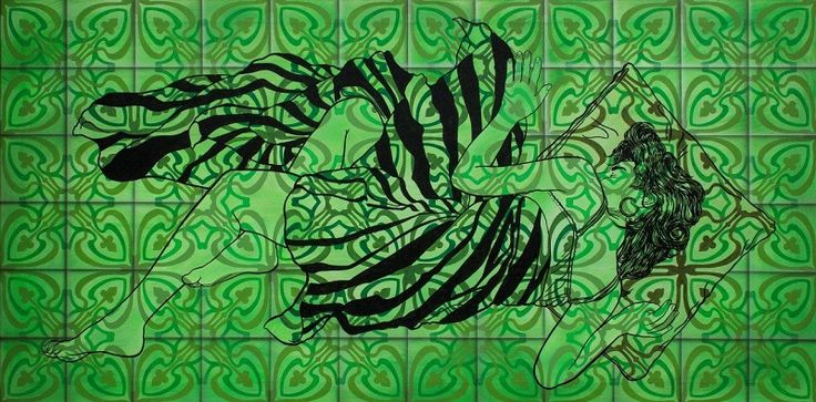 ST Serie En el jardín de las flores vivas  100 cm x 200 cm  Acrílico-Lienzo 2015 3000€  #arte #art #cuban #Lisandra Isabel Garcia