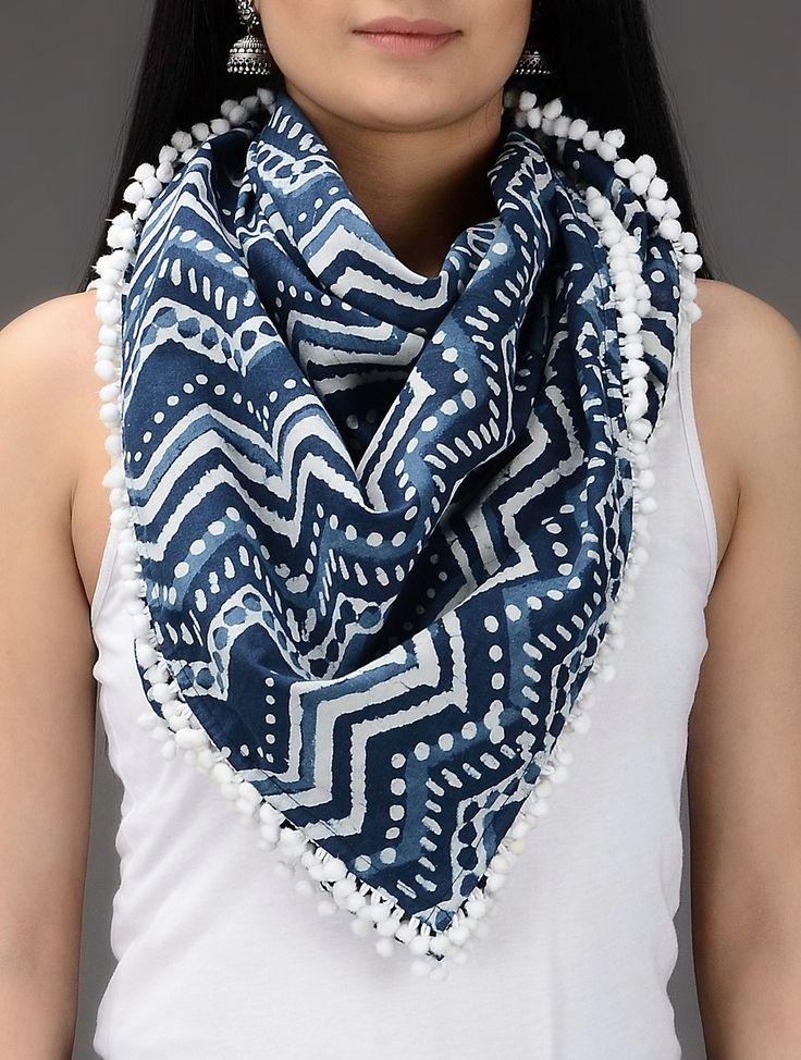 Buy Indigo White Dabu Printed Cotton Scarf Scarves & Stoles Online at Jaypore.com