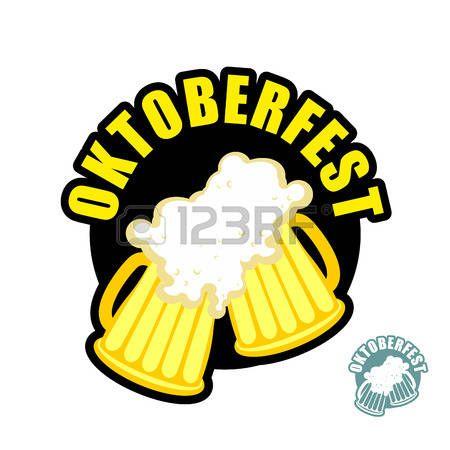 Dos tazas de cerveza tintinean. Símbolo de la Oktoberfest. Vector de vacaciones en Alemania