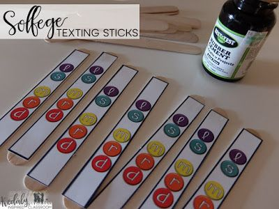 Solfege Texting Sticks - FREE TEMPLATE for pentatonic scale. Organizing a Make It / Take It Workshop, Inservice or get together for Music Teachers - Get crafty making fun manipulatives for your music classroom! Manipulative ideas for steady beat, rhythm, and melody! Rhythm cubes, beat charts, solfege texting sticks, I have, Who Has games, and bingo chip notes. Kodaly Inspired Classroom
