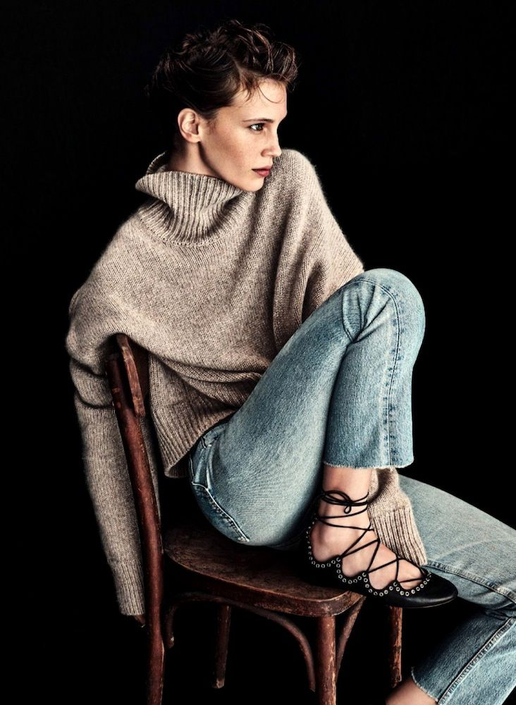 Marine Vacth // oatmeak turtleneck sweater, cropped raw hem jeans & lace-up flats #style #fashion #fall: