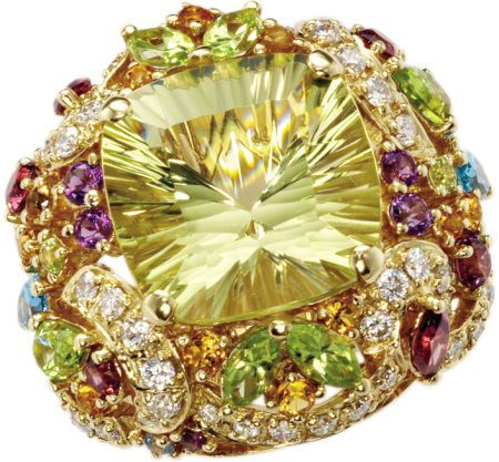 Citrine, Diamond, Multi-Stone, Gold RingThe ring centers