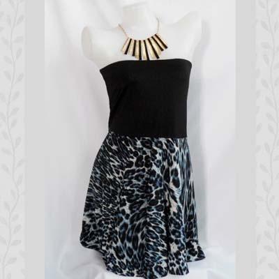 Blue Animal Print Skater Dress