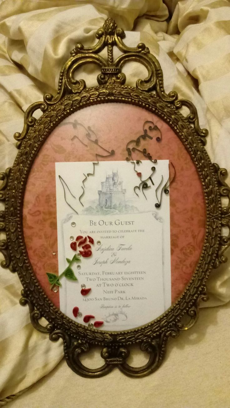 Wedding invitation for a Beauty and the Beast wedding. Artist Elizabeth Floyd. Follow me on facebook The Painted Roses Boutique.