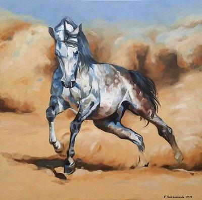 Obraz olejny Konie Król pustyni Sochaczewska 90x90
