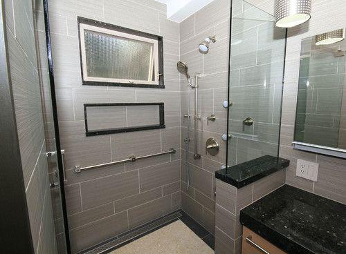 Beige linen tiles in bathroom