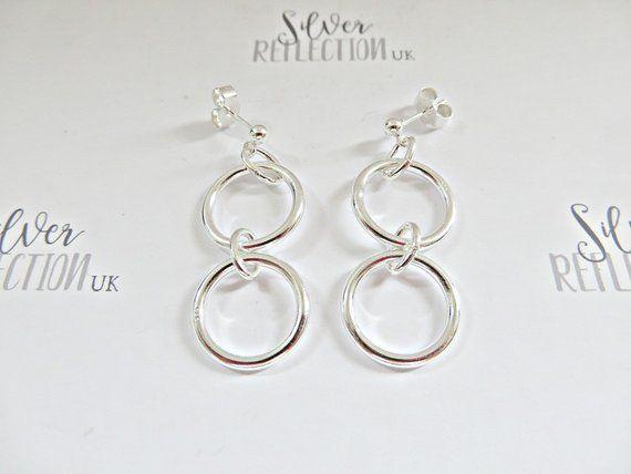 Silver Double Hoop Earrings Stud Sterling Hoops Dangle Two Uk Made