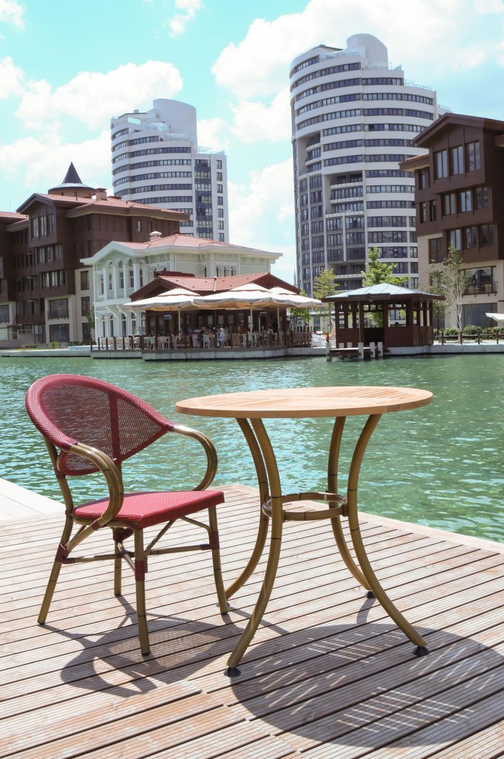 Happy weekend, by the poolside. Garden tables and chairs