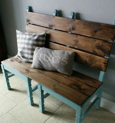 Easy bench made from two old chairs, awesome for a front porch or mudroom.