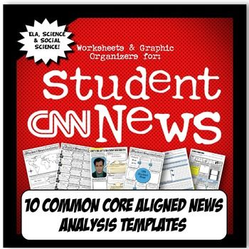 My+students+are+hooked+on+CNN+Student+News!+It+is+a+great,+free+online+resource+that+is+perfect+to+get+students+thinking+about+current+events+with+a+Common+Core+lens.+This+activity+set+has+TEN+templates+to+choose+from+and+is+aligned+with+Common+Core+Literacy+and+Writing+standards+for+ELA,+history+and+science+(NGSS).There+are+varying+templates+for+teachers+to+implement+depending+on+style+and+class+ability+level.