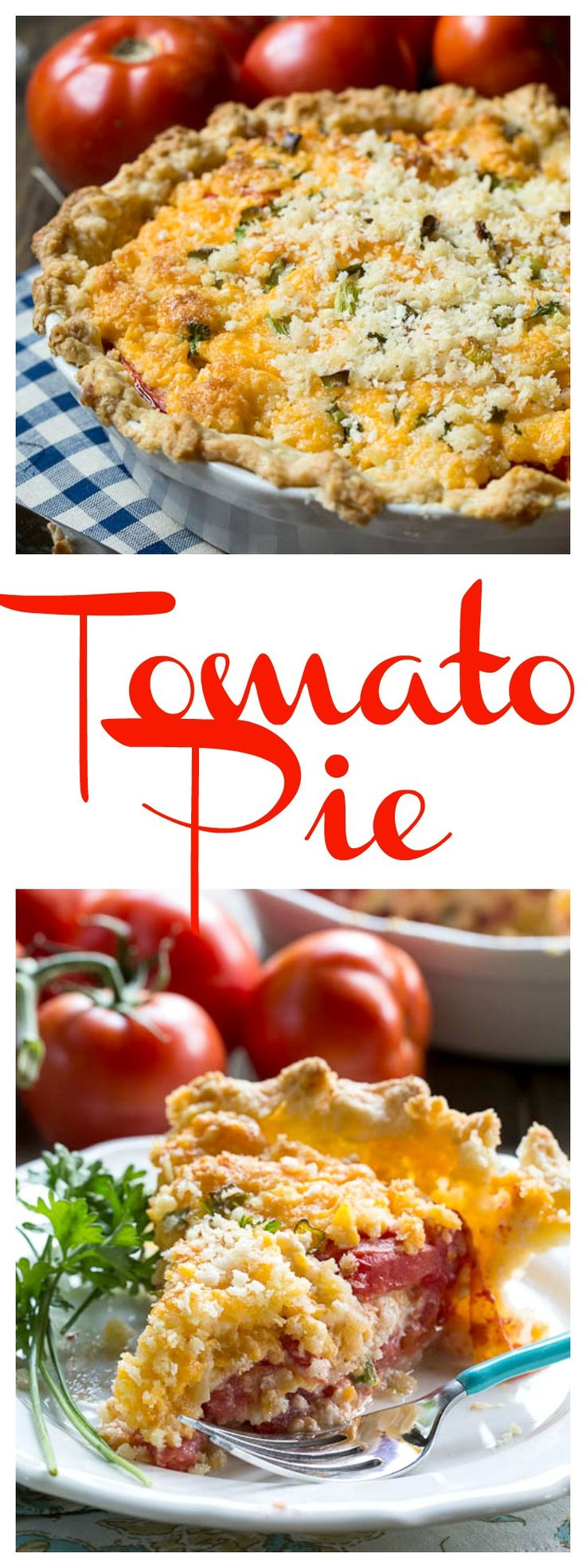 Tomato Pie - a savory southern pie with fresh summer tomatoes and lots of cheese. Unbelievably delicious!