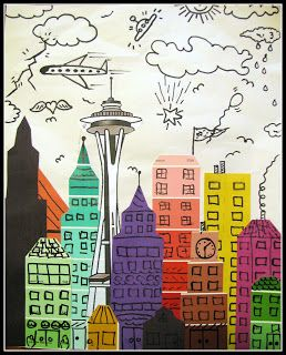 James Rizzi skyline with paint chip strips - use our donated color strips