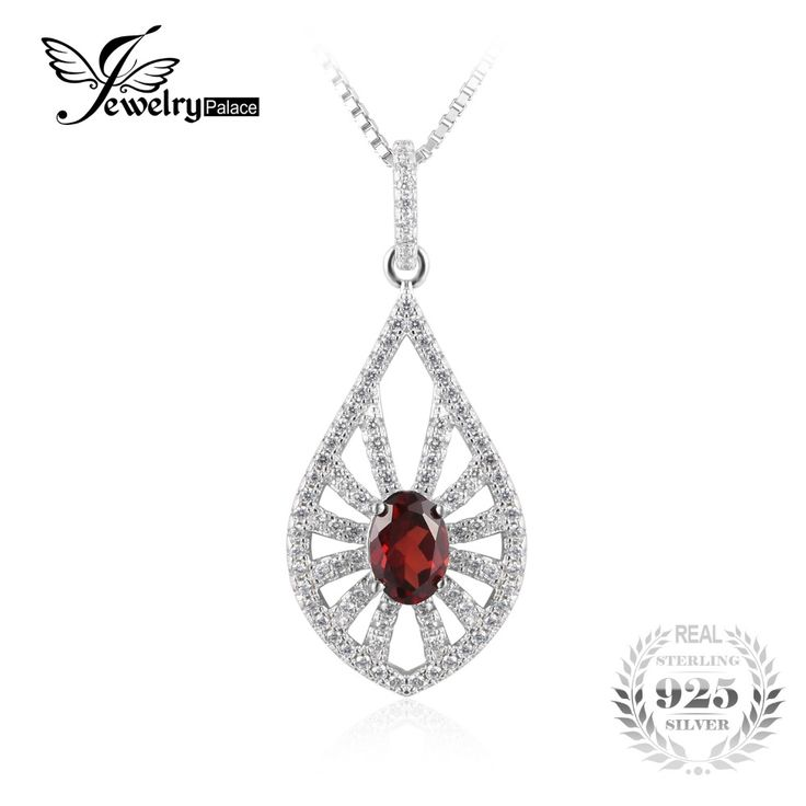 JewelryPalace Elegant 0.6ct Round Genuine Garnet Pendant Necklace 925 Sterling Silver 18 Inches c87agwqJZ8