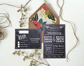 Modern Chalkboard Style Wedding Invitation Set, with Invitations & RSVP Post-Cards, Printable Rustic Wedding Invitations