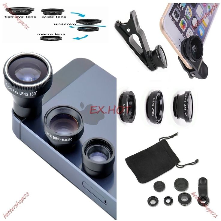 EX.HOT 3in1 Clip On Camera Lens Kit Fisheye +Wide Angle +Macro for Cell Phone #Unbrand