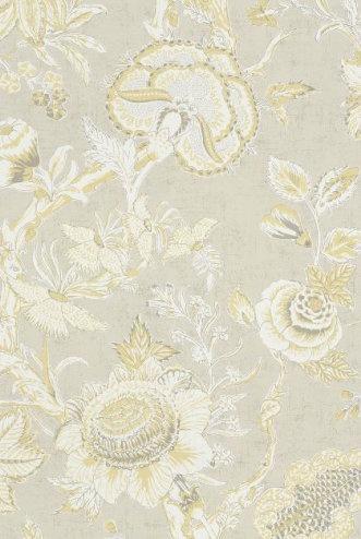 flower wallpaper natural tan linen yellow T4150