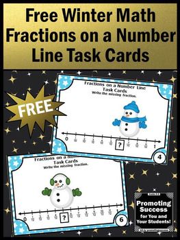 FREE Winter Math Fractions on a Number Line Task Cards Games & Activities