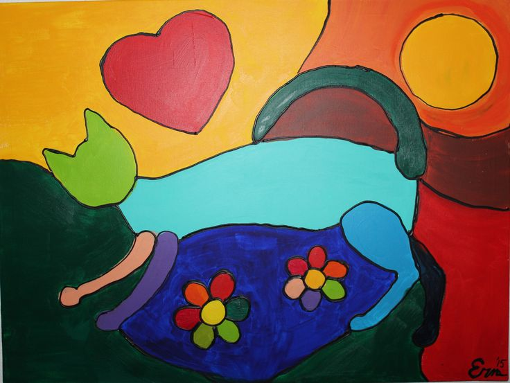 Kat, fel gekleurd- acryl op canvas door Erna Feijge