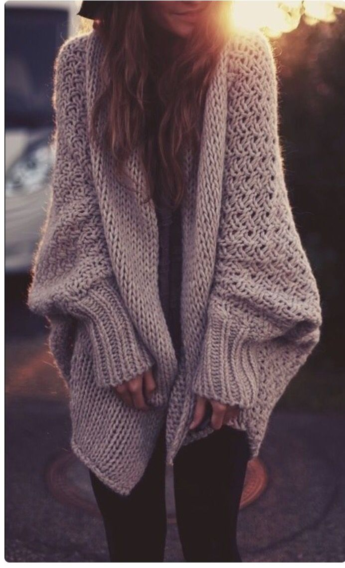 Oversized chunky knit cardigan. A trend that guys will never understand and girls will always wear and love