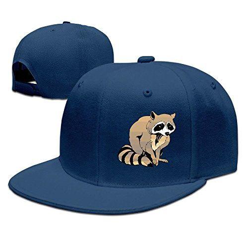 92a48955589b4 Unisex Funny Cartoon Raccoon Snapback Flat Cap Peak Fit Hat Navy ...