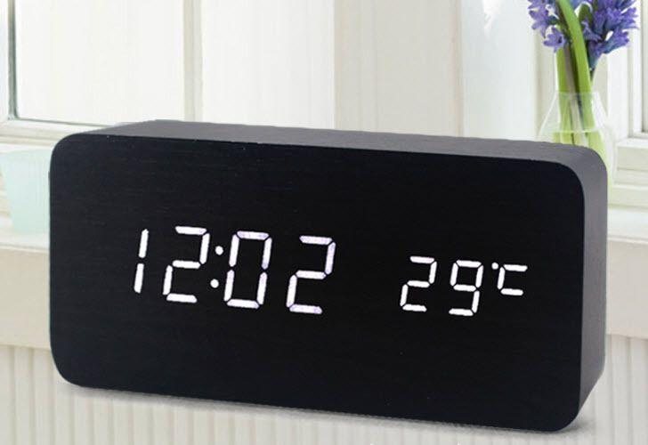 10 Видов Термометр Большие Цифры Цифровой СВЕТОДИОДНЫЙ Будильник USB/AAA Powered Temperature Display Sound Control Деревянные Настольные Часы