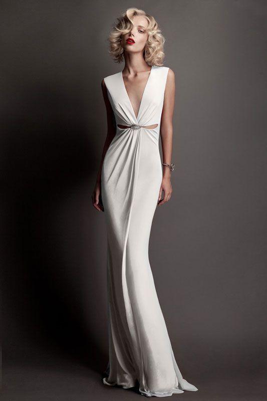 Roberto Cavalli Bridal 2015 white maxi v-neck dress. Fabulous simple and  elegant women fashion outfit clothing style apparel closet ideas