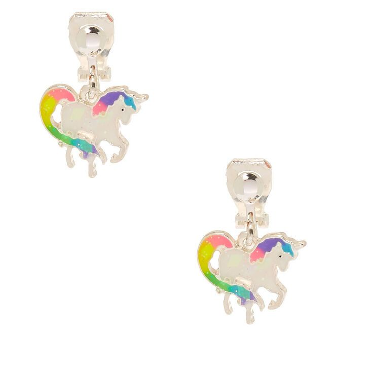 "Claire/'s Girl/'s 1/"" Rainbow Unicorn Clip On Drop Earrings"