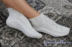 Белые носки на двух спицах, видео