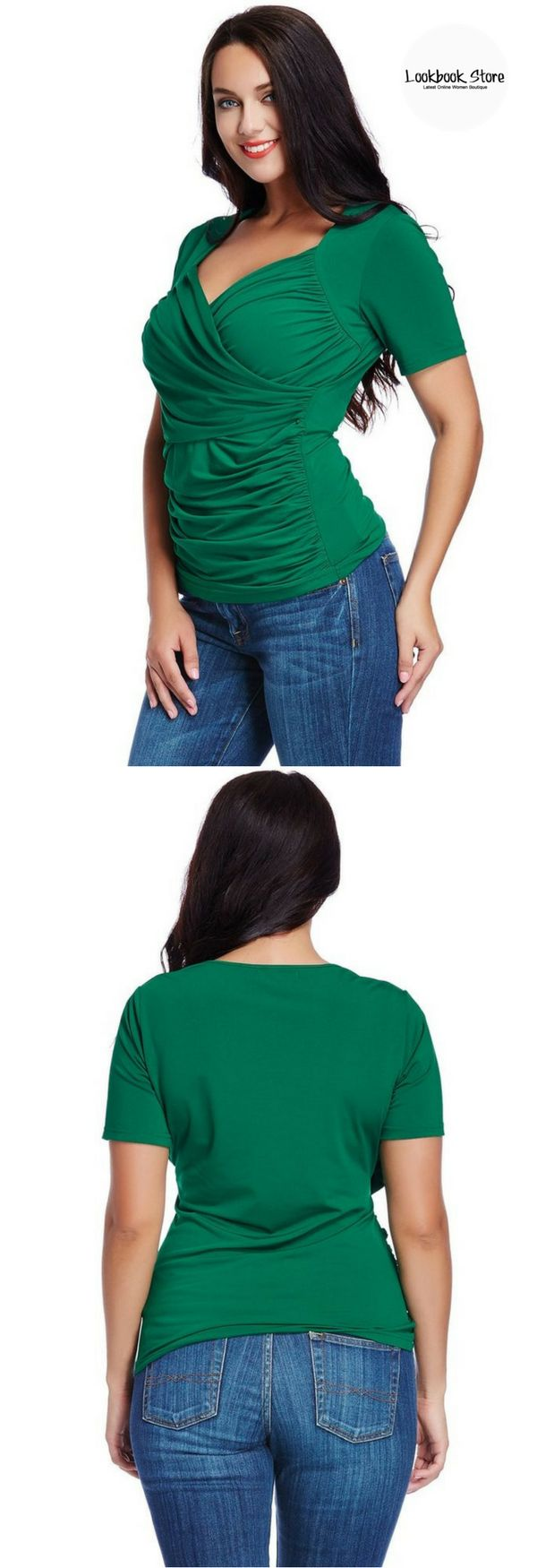 Plus Style // Don't settle for another common top and choose this plus size green ruched surplice top.
