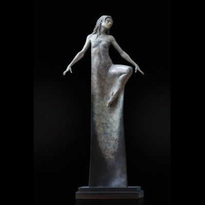 Solstice, a limited edition, 'moonlight' patinated figure of a dancer in long, draping robe by Michael James Talbot b.1959. Set onto a granite plinth.