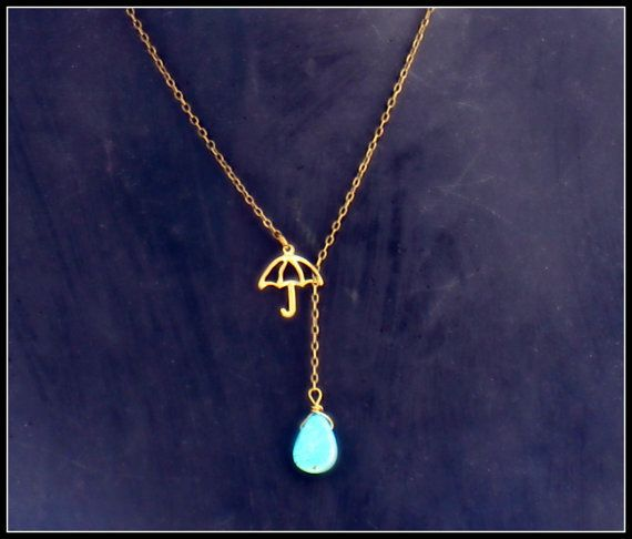 umbrella necklace with turquoise drop, turquoise necklace, rain necklace, unique necklace, vintage style necklace. I want.