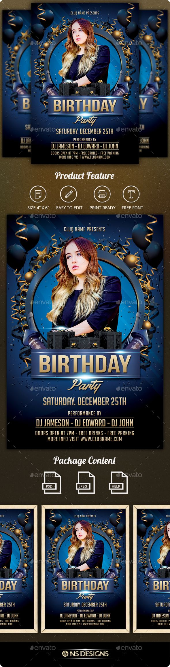 Best Birthday  Anniversary Flyer Template Images On