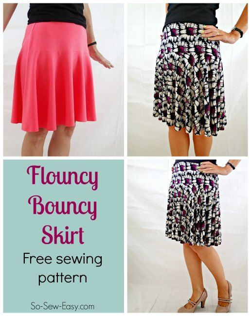 A quick and easy sew free skirt pattern for a fun flouncy and bouncy skirt. Fitted at waist and hips, then softly flared for a really pretty look. For women