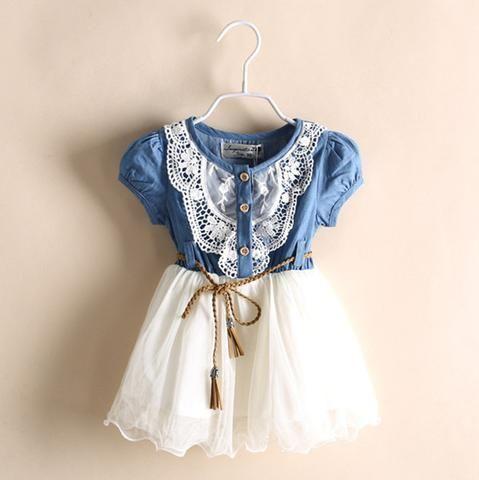 Girl Clothing Summer Denim Dress for Girls Brand Kids Girl Jeans Tutu Dress Cute