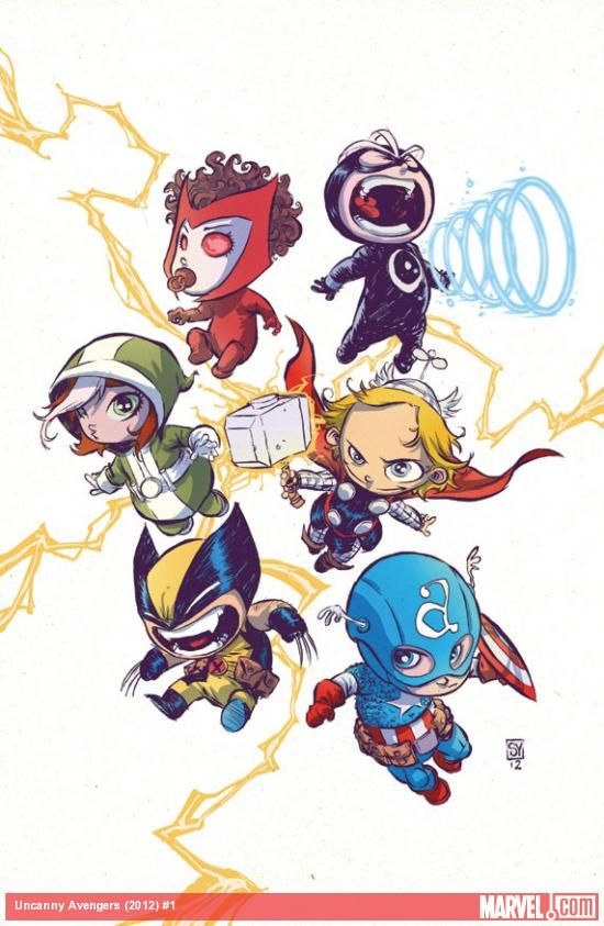 Uncanny Avengers #1 Baby Variant cover by Skottie Young