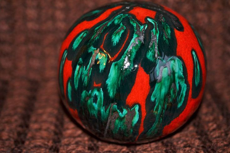 Red and copper wire orb