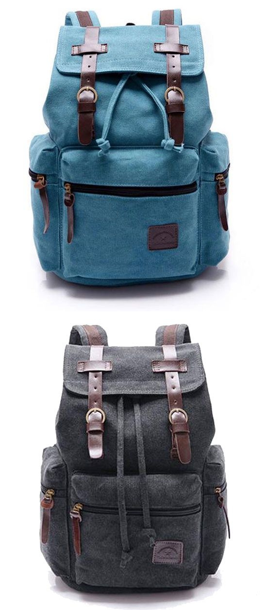 Blue or black? Retro Navy Blue Belt Decoration Canvas Backpack #backpack #retro #canvas #Bag
