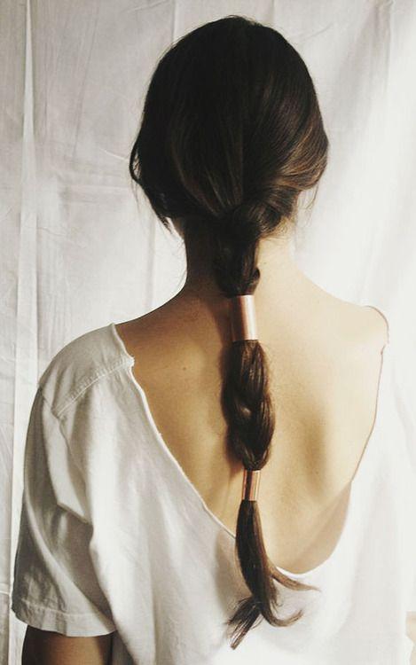 copper braid hair clip