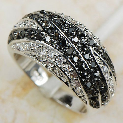 White Black Simulated Sapphire Women 925 Sterling Silver Ring R593 Size 6 7 8 9 10 11 12
