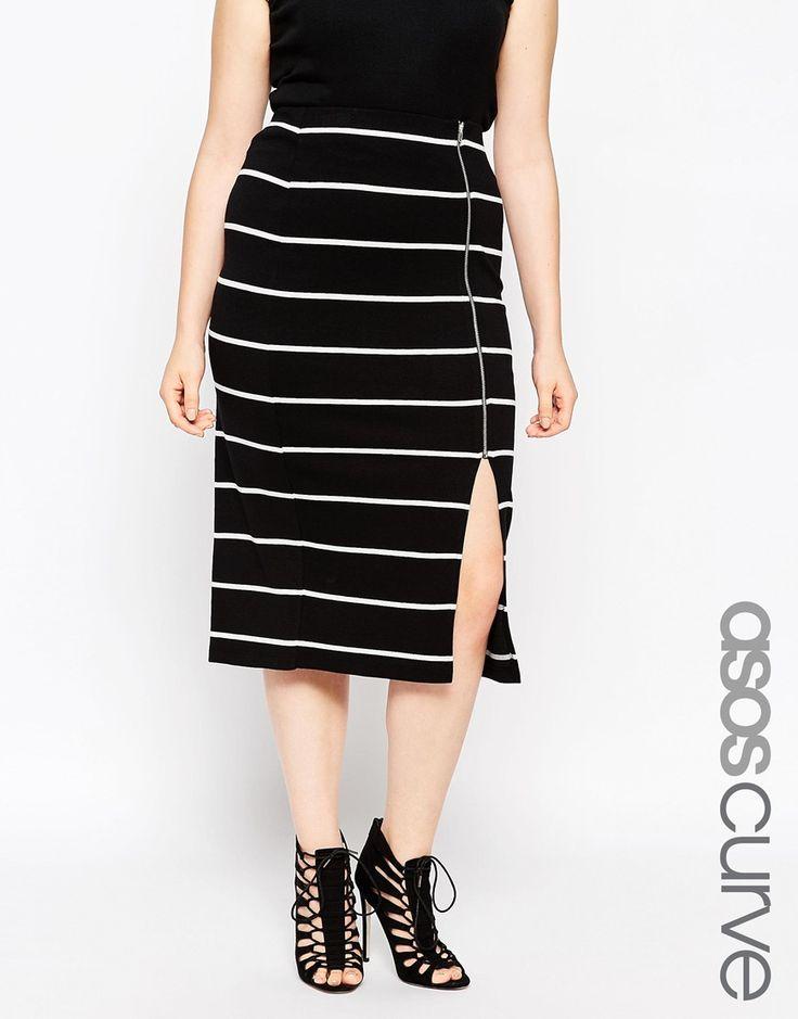 ASOS Curve | ASOS CURVE Mono Stripe Zip Front Tube Skirt at ASOS