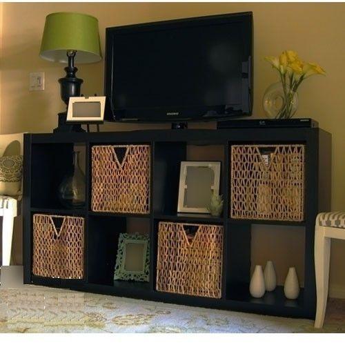 New IKEA Expedit TV Stand Entertainment Center Multi Use Shelving Unit Black   eBay