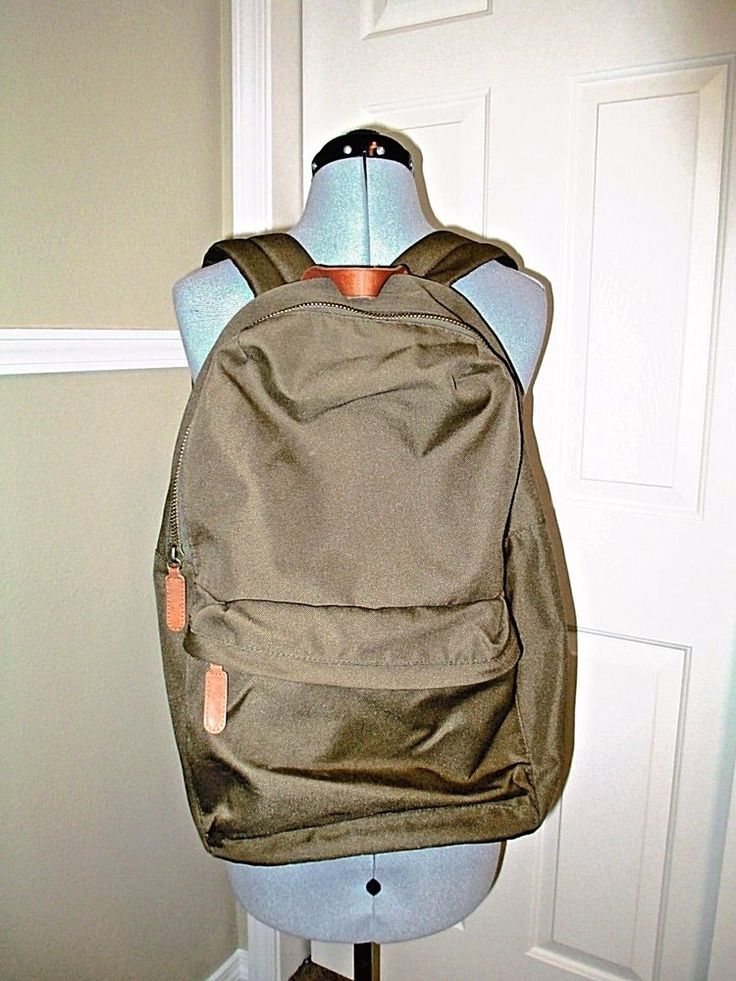 H&M Army Green Backpack Leather Strap Brass Zipper #HM #Backpack