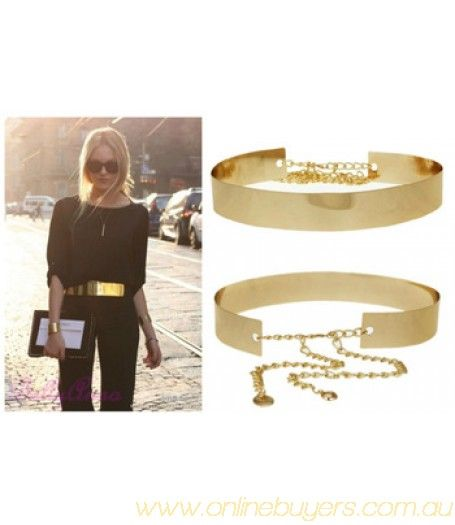 Women Full Metal Mirror Waist Belt Metallic Gold Plate Wide Obi Band With Chains #Fashion #Stylish #Gold #Sliver #Outgoing  #Hot