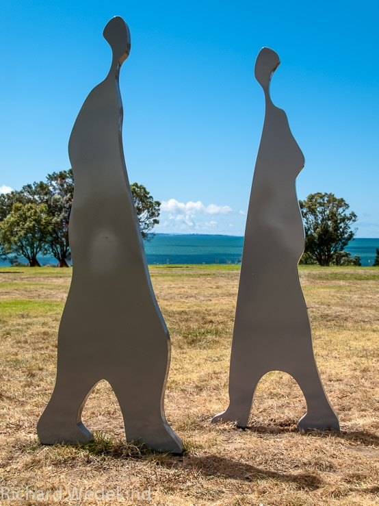 Pas de Deux: NZ Sculpture OnShore 2010. Youth culture meets the Hauraki Gulf. Painted steel - each figure approximately 2m high. Work available.
