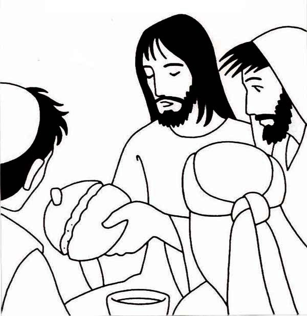 Jesus Split Bread In Two The Last Supper Coloring Page