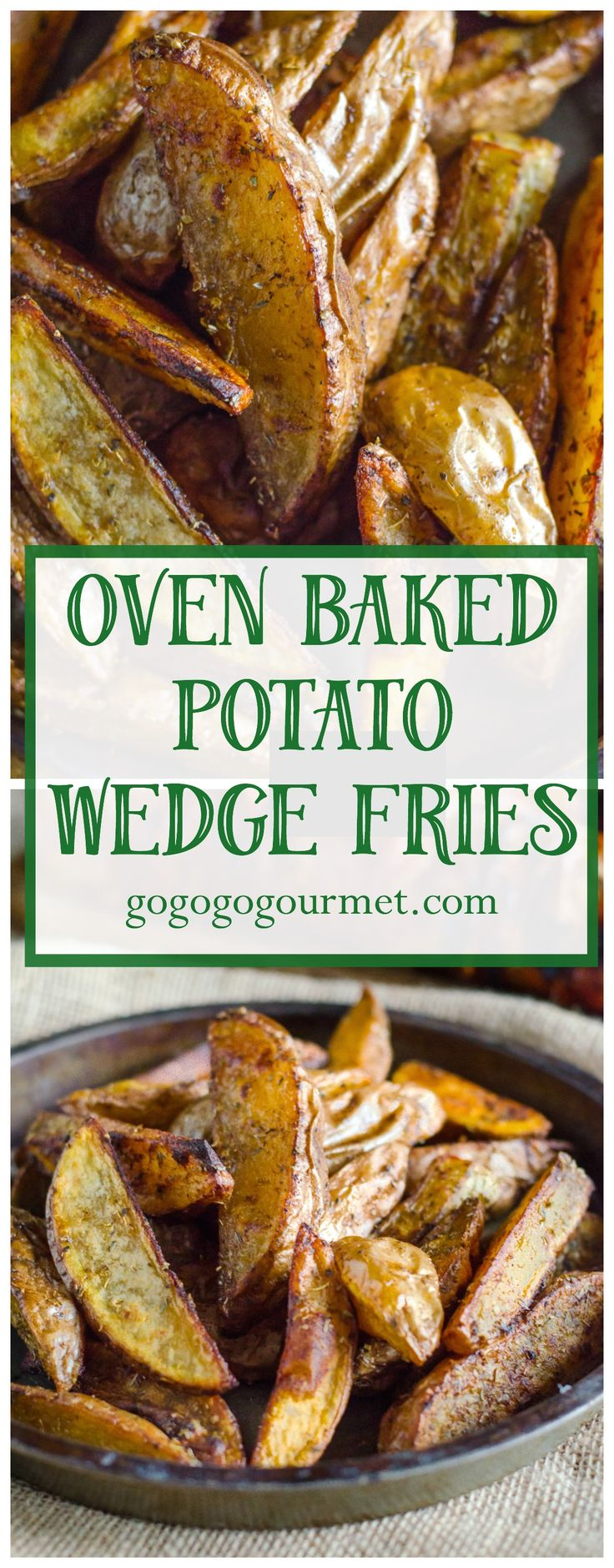 These Oven Baked Potato wedges are PERFECT- crispy on the outside, and soft and fluffy on the inside! Seasoned Oven Baked Potato Wedge Fries | Go Go Go Gourmet @gogogogourmet
