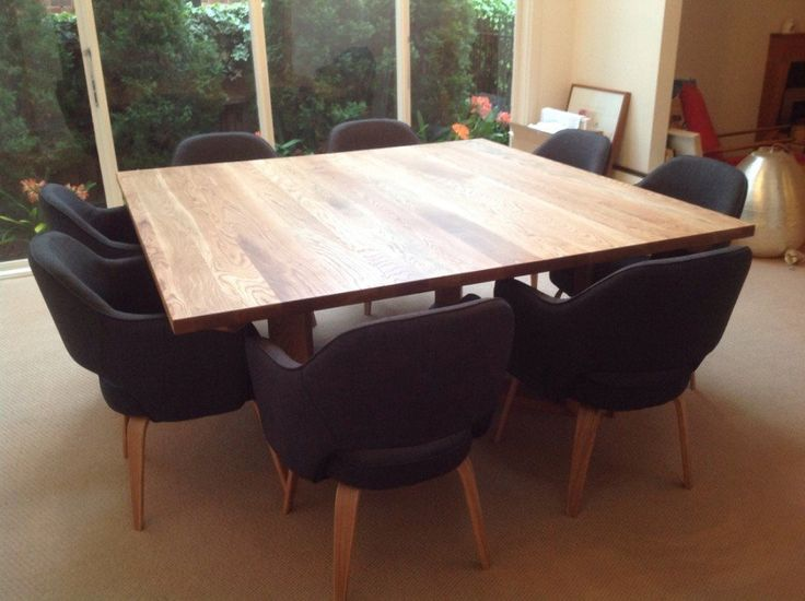 Wonderful Large Square Table For 12 Part - 6: Furniture, Custom DIY Square Dining Room Table Seats 8 With Black Chairs  Ideas ~ Square