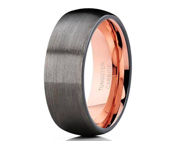 Gunmetal Tungsten Wedding Band 18k Rose Gold Tungsten Ring Etsy In 2021 Rose Gold Tungsten Ring Tungsten Wedding Bands Gold Tungsten Ring